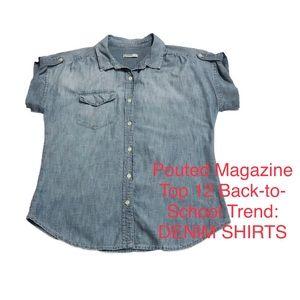 NWOT GAP Distressed Denim Shirt